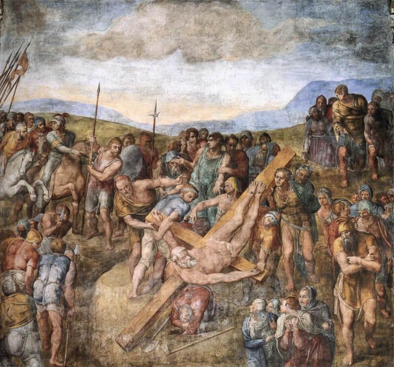 Crucifixión de San Pedro en la Capilla Paulina fresco Miguel Ángel