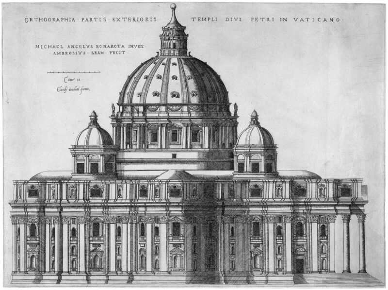 Proyecto de la Basílica de San Pedro del Vaticano Miguel Ángel Grabado de Étienne Dupérac