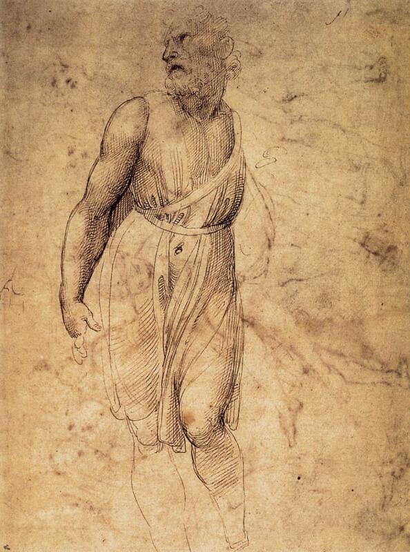 Dibujo de Rafael de la estatua de San Mateo de Miguel Ángel
