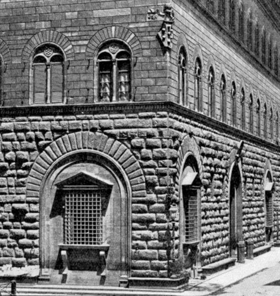 Ventanas de Miguel Ángel en la arquitectura del Palazzo Medici Florencia