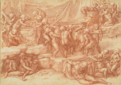 Bacanal de Putti Michelangelo Dibujo
