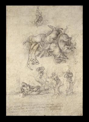 Caída de Faetón Dibujo Michelangelo British Museum