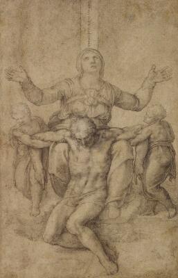 Dibujo Piedad de Michelangelo para Vittoria Colonna