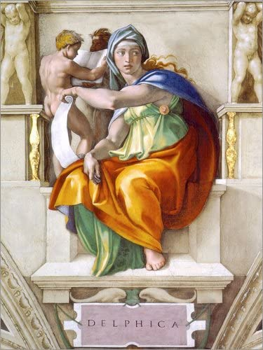 Sibila Delphica de la Capilla Sixtina Miguel Ángel Posterlounge Cuadro de Madera