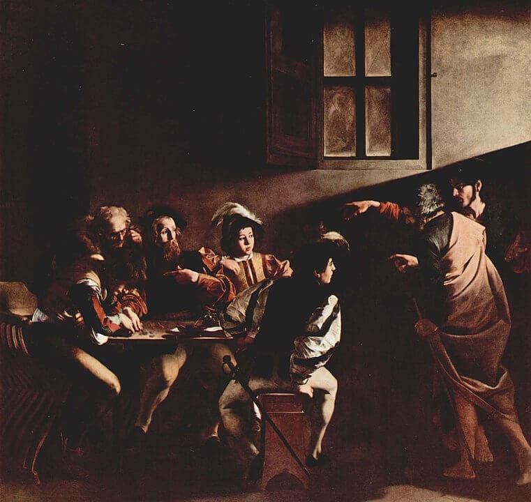 Vocación de San Mateo Caravaggio Michelangelo