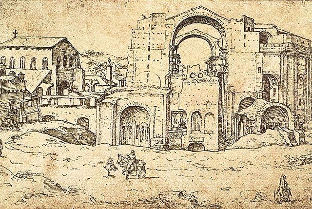 Marten van Heemskerck Construcción de San Pedro 1536