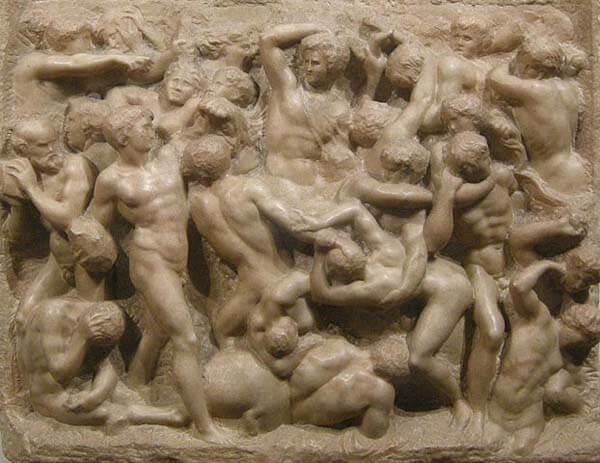 Centauromaquia Michelangelo detalle central relieve escultórico