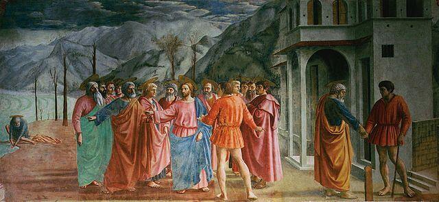 Masaccio: Tributo de la moneda Capilla Brancacci pintura Quattrocento