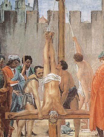 Crucifixión de San Pedro de Filippino Lippi Capilla Brancacci Florencia