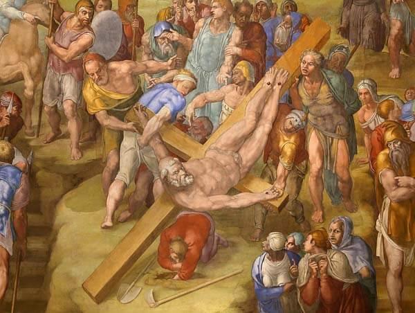 Crucifixión de San Pedro Michelangelo detalle pintura al fresco Vaticano Roma