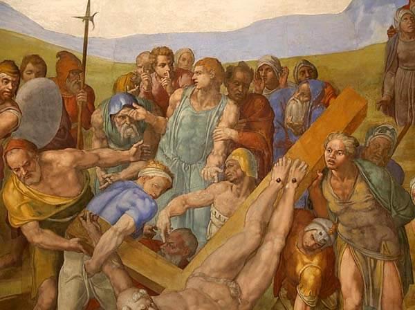 Michelangelo Buonarroti Roma Martirio de San Pedro Cruz Pintura Fresco