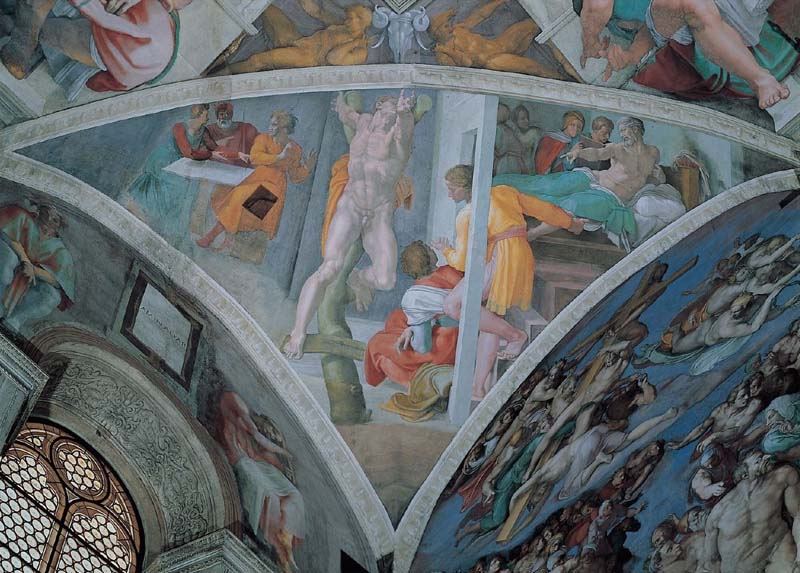 Capilla Sixtina Michelangelo Buonarroti Castigo de Amán Pechina pintura al fresco