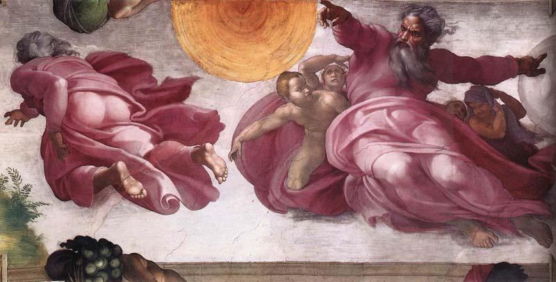 Creación de los astros y los planetas en la Capilla Sixtina Michelangelo Buonarroti