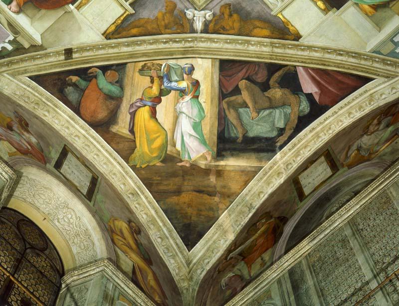 Capilla Sixtina Miguel Ángel Buonarroti pechina de Judith y Holofernes